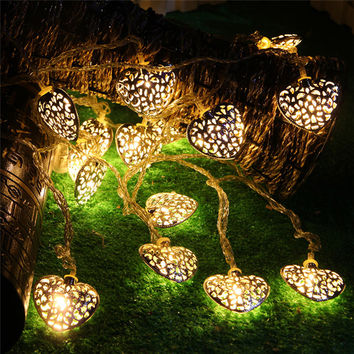 20LED 2.5M Golden Heart-shaped Christmas Tree Light Bulb Battery Operated Party Fairy String Lights outdoor Halloween Decoration