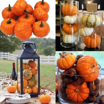 16pcs/Pack Mini Foam Pumpkin For Thanksgiving Fall Halloween Table Decor Vase Filler DIY Centerpieces Wedding Decorating