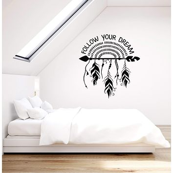 Vinyl Wall Decal Dreamcatcher Arrow Feathers Ethnic Style Quote Room Decor Stickers Mural (ig5621)
