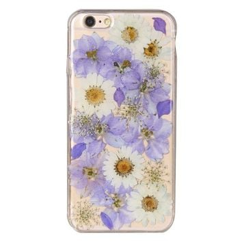For iPhone 7 plus Fashion Dried flowers phone case For iphone 5 6G chrysanthemum red rose real flower case full protector ( XX12