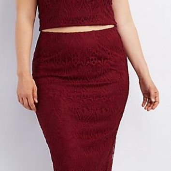PLUS SIZE LACE MIDI PENCIL SKIRT