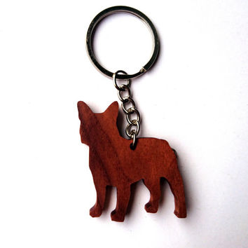 Wooden French Bulldog Keychain, Walnut Wood, Animal Keychain, Environmental Friendly Green materials