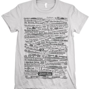 Newspaper Tshirt Vintage History Typography Tee Graphic Text Journalism Shirt Womens t-shirt S M L XL XXL