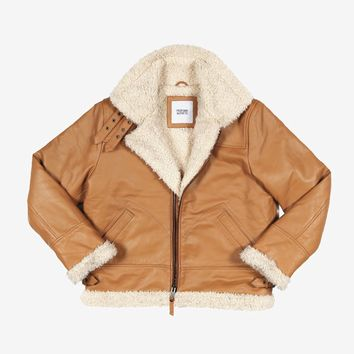 Aviator Leather Flight Jacket in Burnt Cognac