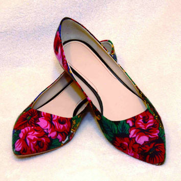 Flower flats Pointed flower flats Ballerinas shoes Low heels flats ballerinas