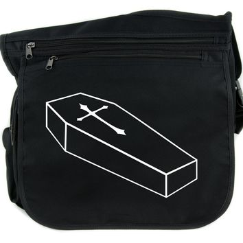 Voodoo Coffin w/ Gothic Cross Cross Body Messenger School Bag Punk Horror