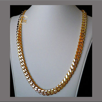 "14K Gold Miami Men's Cuban Curb Link Chain Necklace 24"" Heavy 196.8 Grams 10mm Free Appraisal"
