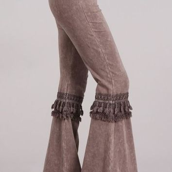 Mia Boho Brown Bell Bottom Pants