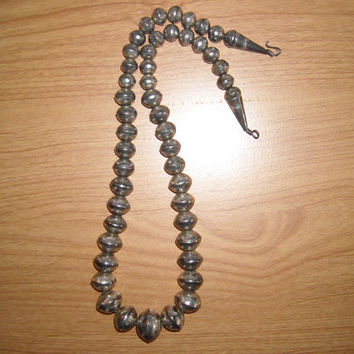 Vintage Native American Hand Stamped Sterling Silver Bead Necklace Signed JC