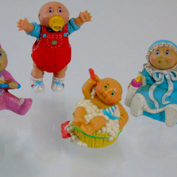 1984 Lot Cabbage Patch Kids PVC Miniature Figures O.A.A. 4 Mini Babies Original Appalachian Artworks ,Baby Shower Decor, Cake Topers