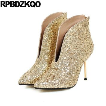 Shoes Gold Ladies 2017 High Heel Short Stiletto Big Size Autumn Ankle Pointed Toe Sequin Slip On Booties White Wedding Boots