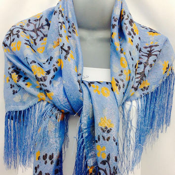 40X40 Large Blue square shawl, Holiday gift, Silk Piano Shawl, Best Friend Gift, Floral Paisley Scarf, Boss gift, Paleo, Sarong, Cover up