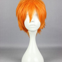 Promotion Haikyuu!! Shoyo Hinata Fashion Master 30cm Short Orange Synthetic Cosplay Party Wig,Colorful Candy Colored synthetic Hair Extension Hair piece 1pcs WIG-559F