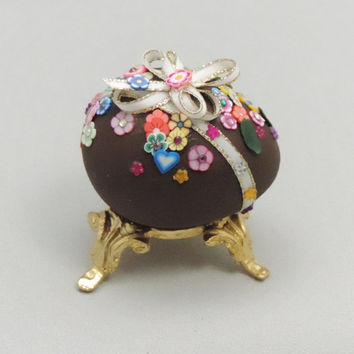 Chocolate Easter Egg, Decorated Easter Egg, Faberge Style Decorated Egg