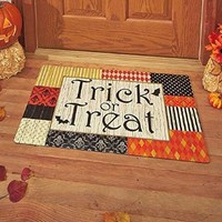"30"" Trick or Treat Spooky Front Door Rug Halloween Scene Polyester Doormat"