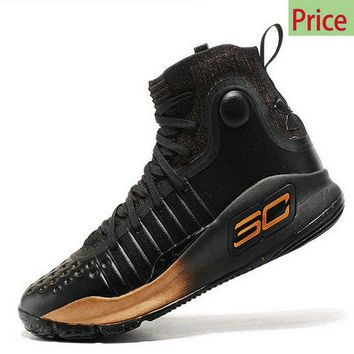 Popular Latest Style Under Armour Stephen Curry 4 Black Gold All Star Mens Basketball Sports Shoes Sneakers sneaker