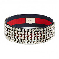 GUCCI Crystal Diamond Full Headband For Women Headband Blue+Red G