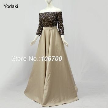 Fashion Long Sleeves Light Gold Colors Prom Dresses Boat Neck A Line Bling Sequins Long Evening Party Gowns