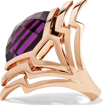 Stephen Webster - Lady Stardust 18-karat rose gold, amethyst and mother-of-pearl ring