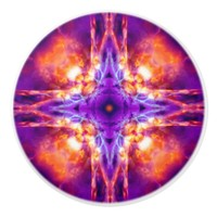 Purple and orange kaleidoscope cross ceramic knob