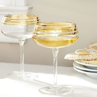 Gold Stripe Cocktail Coupe, Set of 4