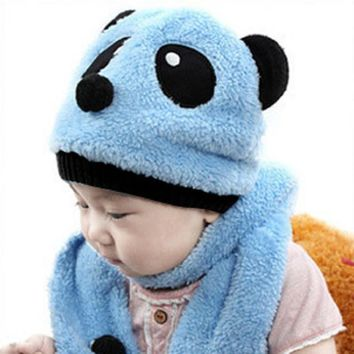 Baby Hat Girl Boy Cap 2016 Autumn Winter Baby Boys Hat Kids Beanies Panda Pattern Knitted Baby Hats Scarf Set Warm Newborn Hats