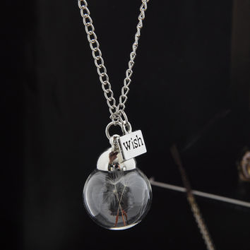 Airy Real Dandelion Necklace Make One Wish! Wish Real Dandelion Crystal Necklace Glass Round Silver Choker Necklace WISH Charm