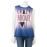 "Jerry Leigh ""Crazy About You"" Open-Back Sleeveless Tee - Juniors"