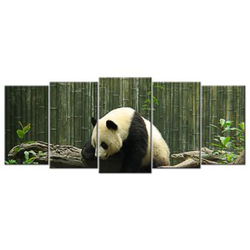 "Five Panel, 72 Inches(W) X 32 Inches(H), Large Size, ""Zoo Panda"", Canvas Wall Art"