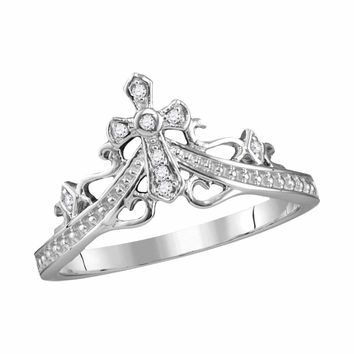 14kt White Gold Womens Round Diamond Cross Crown Tiara Band Ring 1/20 Cttw
