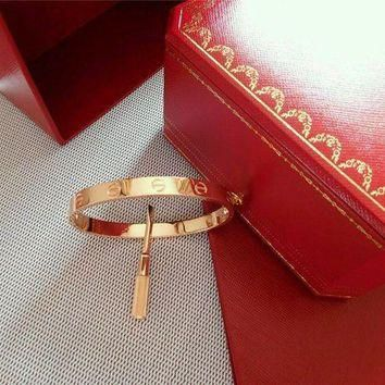 ONETOW Authentic Cartier Love Bangle Bracelet in 18k Rose Gold USAsize 19