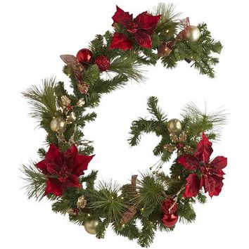 Pre-Lit Royal Poinsettia Garland - Red