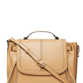 Tan double zip satchel Bag