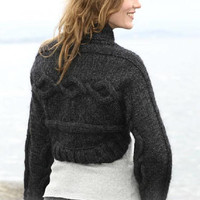 Short jacket, cable jacket, handknit jacket, women jacket, winter jacket, bolero, crop top, perfecto, black jacket, Alpaca wool Drops Lilith