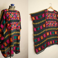 Vtg ECCENTRIC Embroidered Gauze Poncho Bohemian Gypsy