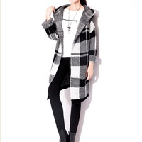 Black & White Plaid Hooded Slim Warm Cardigan Long Coat * free shipping *