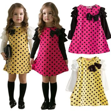 Kids Girls Long Sleeve Polka Dot Princess Dress