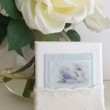 Original Small Fine Art Mixed Media Painting, 4 x 4, Swan, Lace, baby gift, shower gift, shabby cottage decor, baby room decor, SFA art