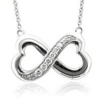Sterling Silver Infinity Heart 7 Stone Diamond Pendant Necklace (1/4 carat)