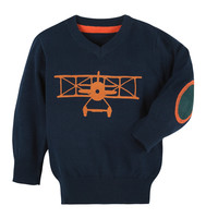 Andy & Evan for Little Gentlemen Airplane Sweater - Dark Blue/Navy