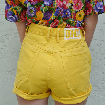 High Waisted Yellow Shorts - The Else