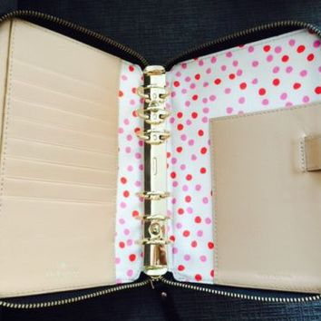 Kate Spade Black Wellesley Agenda With Inserts Pink Red Dots Planner