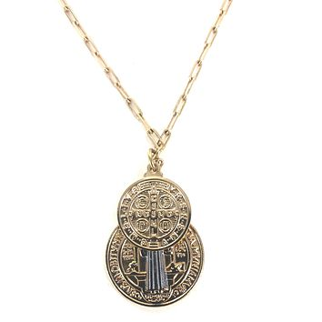 Saint II - St. Benedict Coin Necklace
