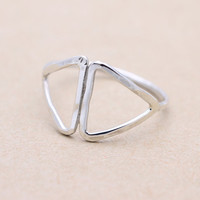 925 sterling silver Double triangle ring
