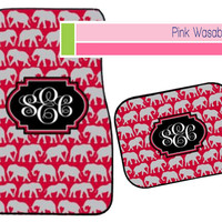 Monogrammed Elephant Car Mats Personalized Car Mats Crimson Car Rug Houndstooth Auto Accessories Sweet Sixteen Gift