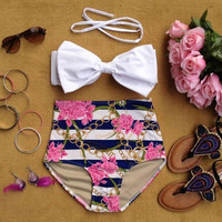 High Waist Flower Pattern Panties + Bowknot Bra Bikini Suit Swimming Wear Beach Clothing