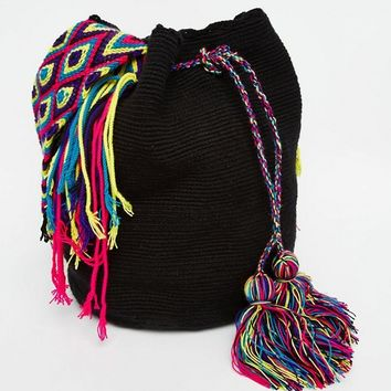 Jardin Del Cielo Wayuu Hand Woven Mochila Bag in Black at asos.com