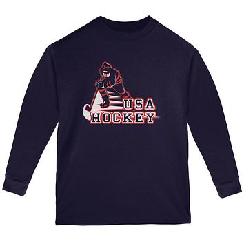 Fast Hockey Player Country USA Youth Long Sleeve T Shirt