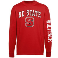NC State Wolfpack Youth Distressed Arch & Logo Long Sleeve T-Shirt – Red - http://www.shareasale.com/m-pr.cfm?merchantID=7124&userID=1042934&productID=554802887 / NC State Wolfpack