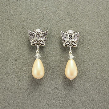Magnetic Angel Earrings With Antique Pearl Drops